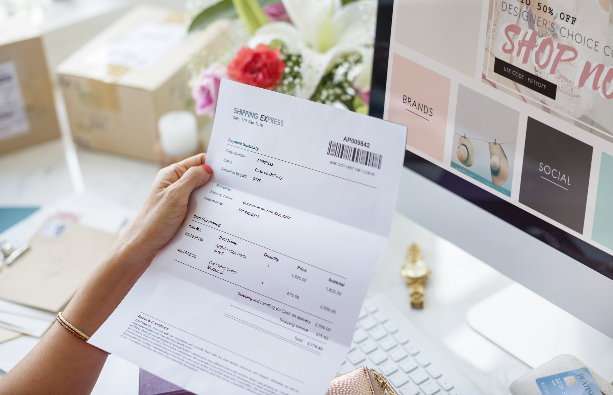 Woman reading payment bill